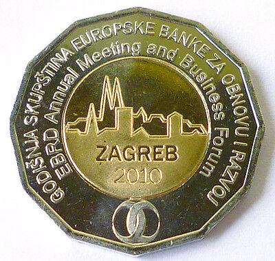 Croatia 25 Kuna bimetal EBRD Meeting Zagreb Business meeting Forum 2010 UNC