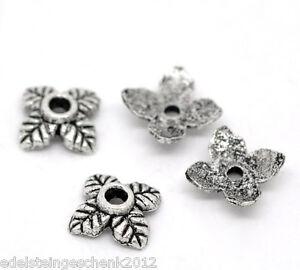 350-aelter-Silber-4-Blatt-Perlen-Beads-Ende-Kappen-6-6mm
