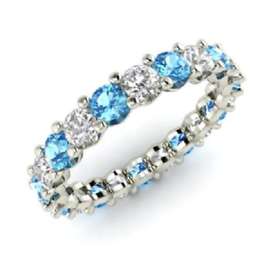 2.54 Ct Round Diamond Engagement Topaz 925 Sterling Silver Eternity Band Size 7