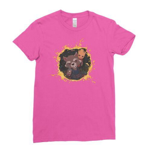 Baby Groot Rocket Raccoon Guardians Of The Galaxy Women T shirt Tee Top