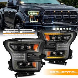 For 15-17 F150 Nova LED Projector Activation Sequential Headlights Alpha Black