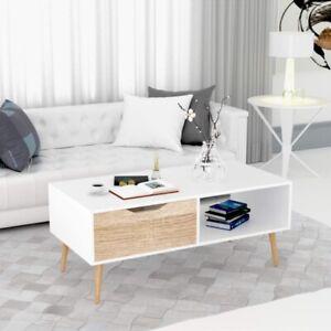 Table à thé de moderne simple support de meuble TV blanc avec à tiroir unique