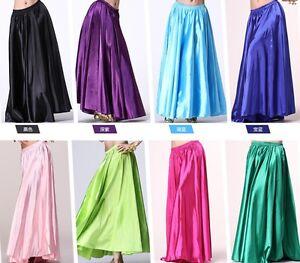 Adulte-Lady-Shining-Satin-Long-Jupe-Swing-Jupe-Belly-Dance-costumes-jupe-robe