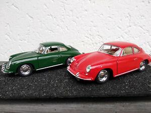 Lot-de-2-Porsche-356-B-Carrera-2-rouge-et-verte-12-5cm-neuve-en-metal