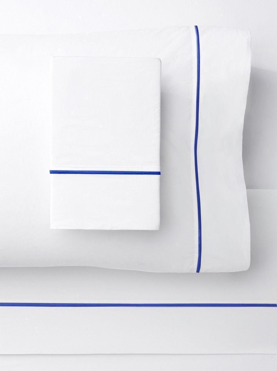 1000 Thread Count Single Stripe Embroidery Sheet Set Weiß on Blau