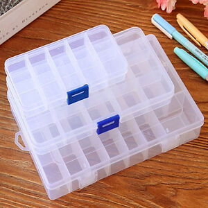 Plastic-15-10-24-Slots-Adjustable-Jewelry-Storage-Box-Case-Craft-Organizer-Bead