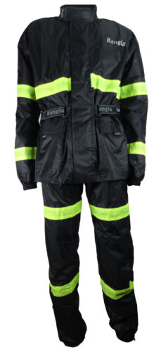 4 XL Bangla MOTO PIOGGIA PIOGGIA combinata Giacca Pantaloni Pioggia Nero Giallo Tg