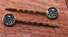 """LTV Creation Bobby Pin Pair """"Witches Brew"""" Round Glass Top Hair Pin Accessory"""
