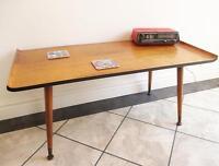 Vintage 60's Teak Wood Dansette Sled Coffee Table Retro Mid Century Sputnik