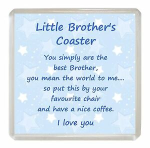 Image Is Loading LITTLE BROTHER Drink Coaster Fun Poem Novelty Birthday