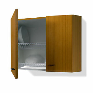 Scolapiatti mobile per cucina da 60cm colore teak due ripiani ...