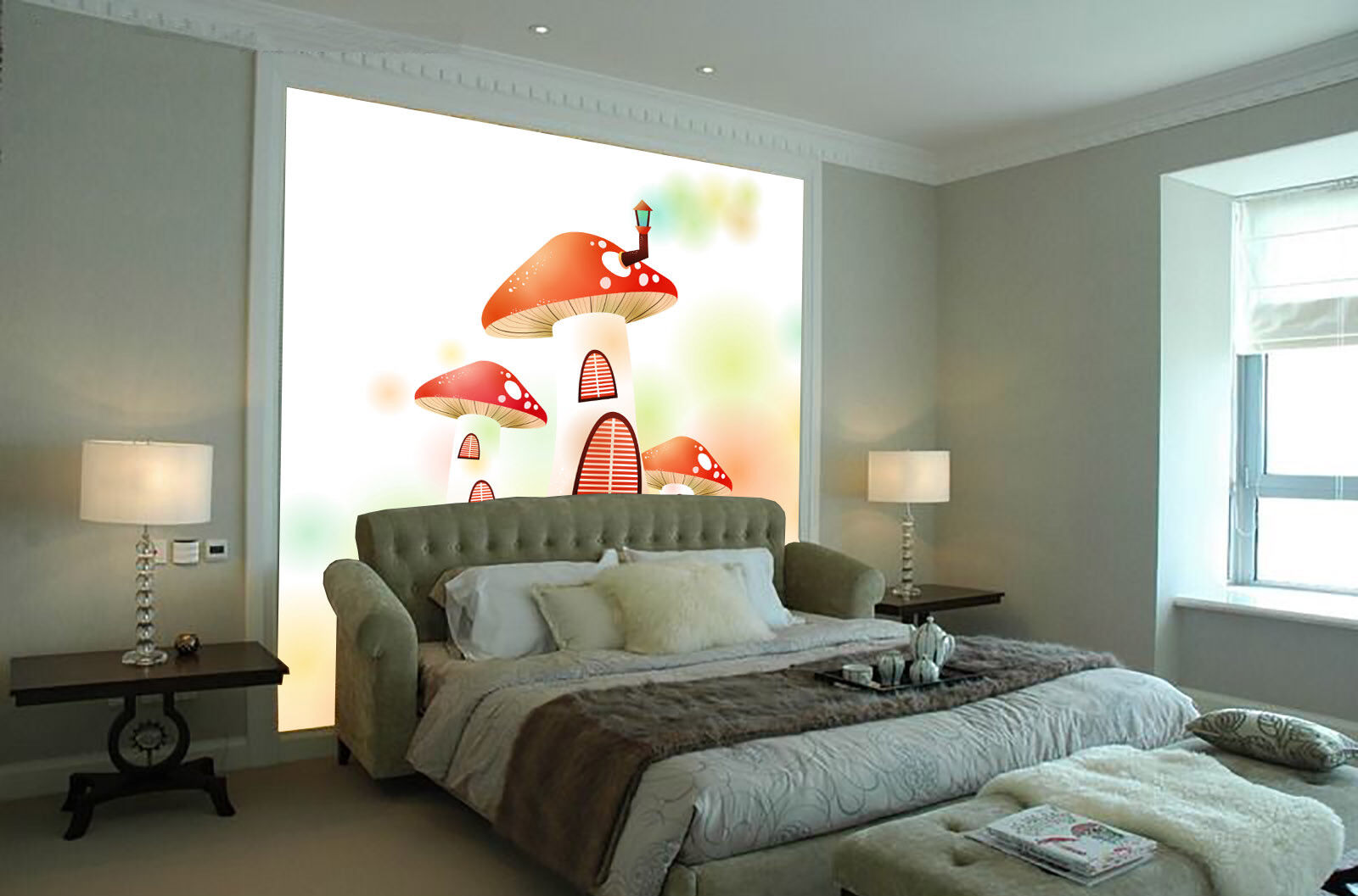 3D Mushroom 4222 Wallpaper Murals Wall Print Wallpaper Mural AJ WALL UK Lemon