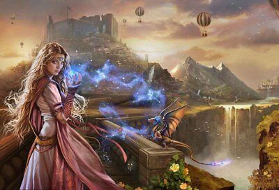 Home Art Wall Decor Princess Castle Dragon Magic Oil Painting Printed On Canvas