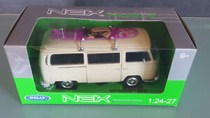Welly-1-24-bus-VW-Type-2-con-tabla-de-surf-beige-1-24