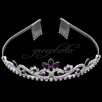 Purple Wedding Prom Bridesmaid Rhinestone Crystal Flower Crown Headband Tiara