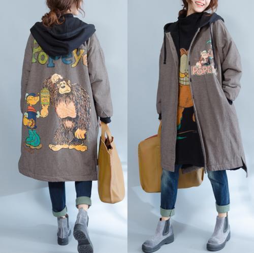 Abrigo largo de terciopelo para mujer a la moda de la chaqueta de manga larga holgada calce con capucha Ropa de abrigo de invierno