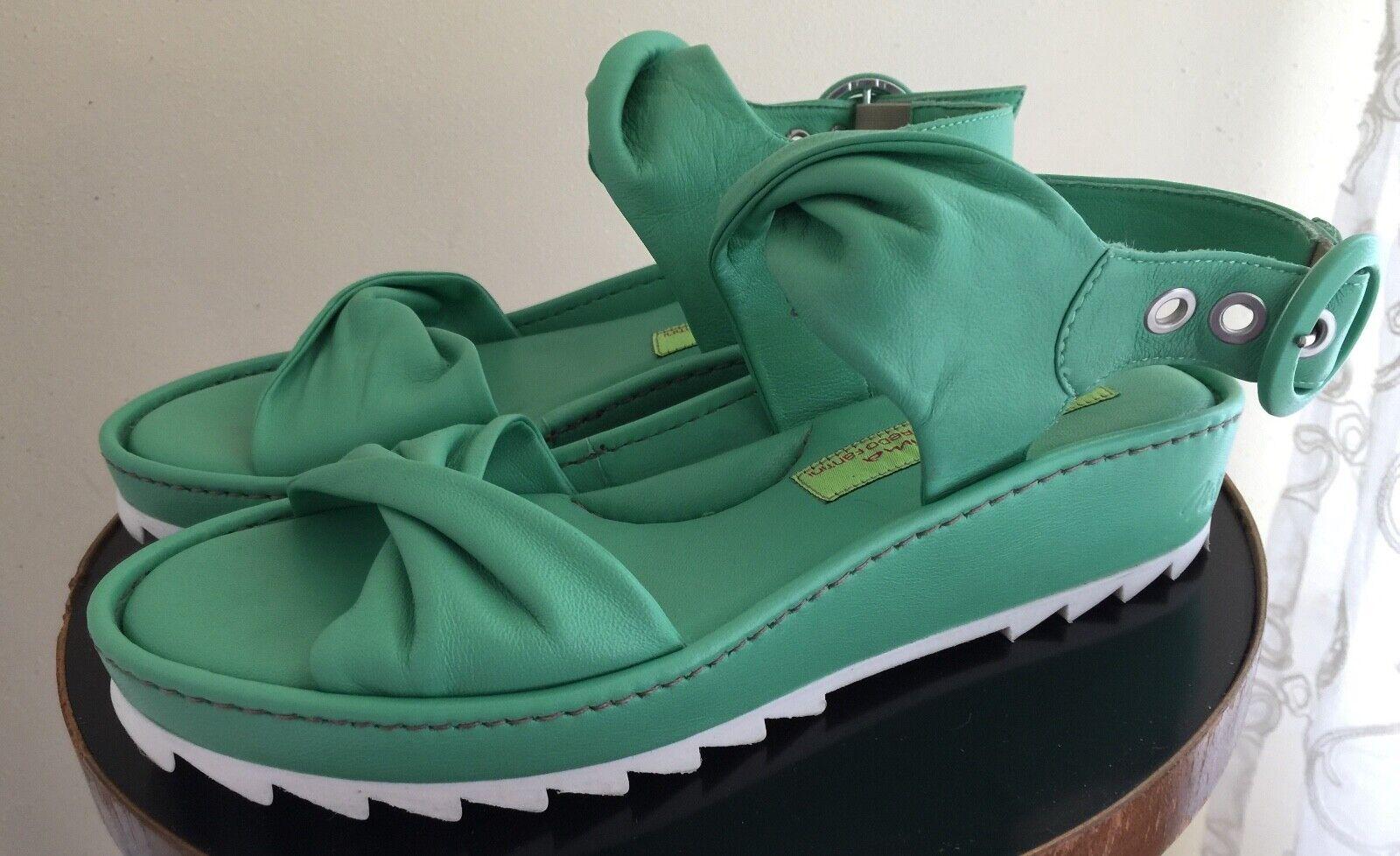Designer Materia Prima Goffredo Fantini Minty Green Comfort Wedge Sandal Sz 38