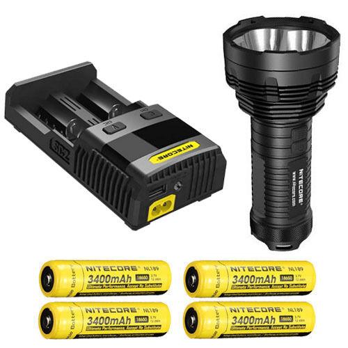 Nitecore TM16GT Flashlight, XP-L HI V3 LED w/SC2 Charger & 4x NL189 Batteries
