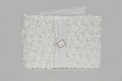 Wedding Guest Book with Satin Ribbon Sash and Crystal Diamante Brooch, 36 pages