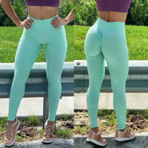 Women High Waits Yoga Pants Anti-Cellulite Leggings Ruched Gym Sport Trousers PP