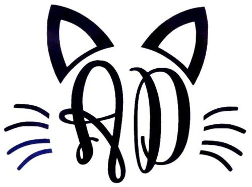 Vine Cat Initials Monogram Cup Laptop COLORS Car Window Vinyl Decal Sticker V2