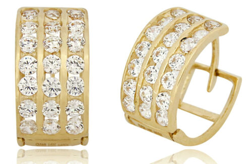 Men/'s 14k SOLID Yellow Gold Iced Out Hip Hop 3 Row Simulated Diamond Hoops