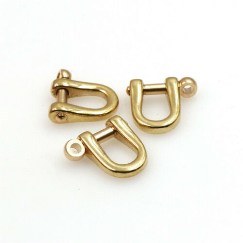 4Pcs 6mm Solid Brass Carabiner Shackle Key Chain D Ring Hook Clasp Belt Strap