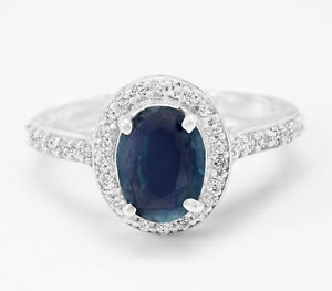 925-Sterling-Silver-Ring-Natural-Oval-Blue-Sapphire-Halo-Gemstone