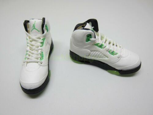 """1//6 Scale Sneakers Shoes Trainers Air AJ5 White Green for 12/"""" Action figure"""