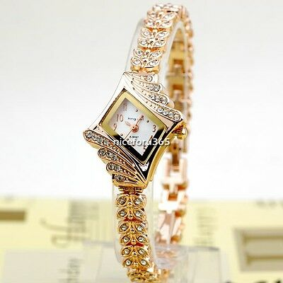 Lady Women's Alloy Crystal Diamond Quartz Rhombus Bracelet Bangle Wrist Watch