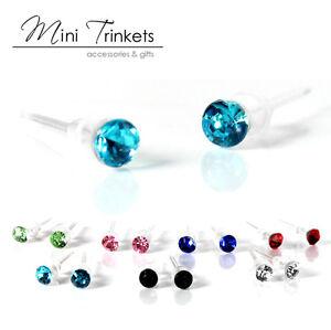 Men's Women's Small hypoallergenic Crystal Round Stud Earrings Gift Present