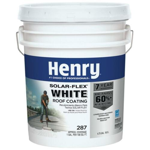 Henry Roof Coating Cool RV Solar-Flex Flat Metal Rolled 4.75 Gal White