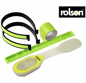 2PC Rolson High Vis Reflector Arm Band And Trouser Clip Set + ROLSON LIGHT