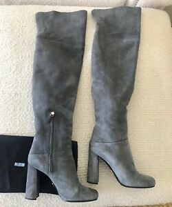 134d703a6c7 Image is loading Prada-Suede-Over-The-Knee-Boots-Grey-Size-