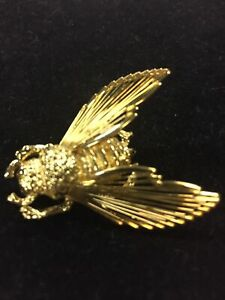 VTG-MONET-Gold-Tone-Bumble-Bee-Pin-Brooch-With-Wire-Wings-1-5-Insect-Honey
