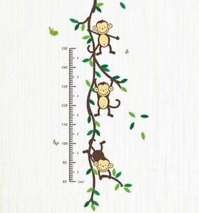 Affe-Monkey-Wandsticker-Wandtattoo-Kinder-Groessenmesser-Aufkleber-Kinderzimmer