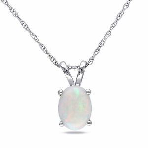 Amour 10k White Gold Opal Necklace