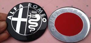 2x-Alfa-Romeo-emblema-negro-plata-kuehlergrill-147-156-GT-mito-Giulietta-159