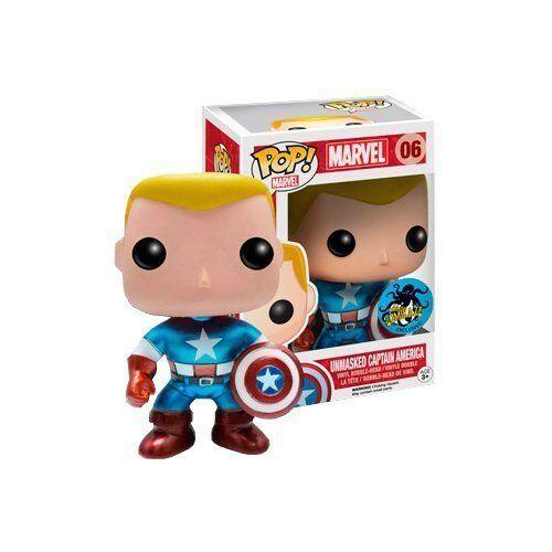 Marvel Pop  Comikaze Exclusive 2014 Unmasked Captain America Funko JC
