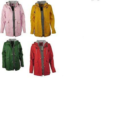 New Womens PU Festival Lightweight Hooded Jacket Showerproof Ladies Mac Raincoat