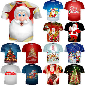 Cartoon-Santa-Claus-3D-T-Shirt-Women-Men-Christmas-Print-Casual-Short-Sleeve-Tee