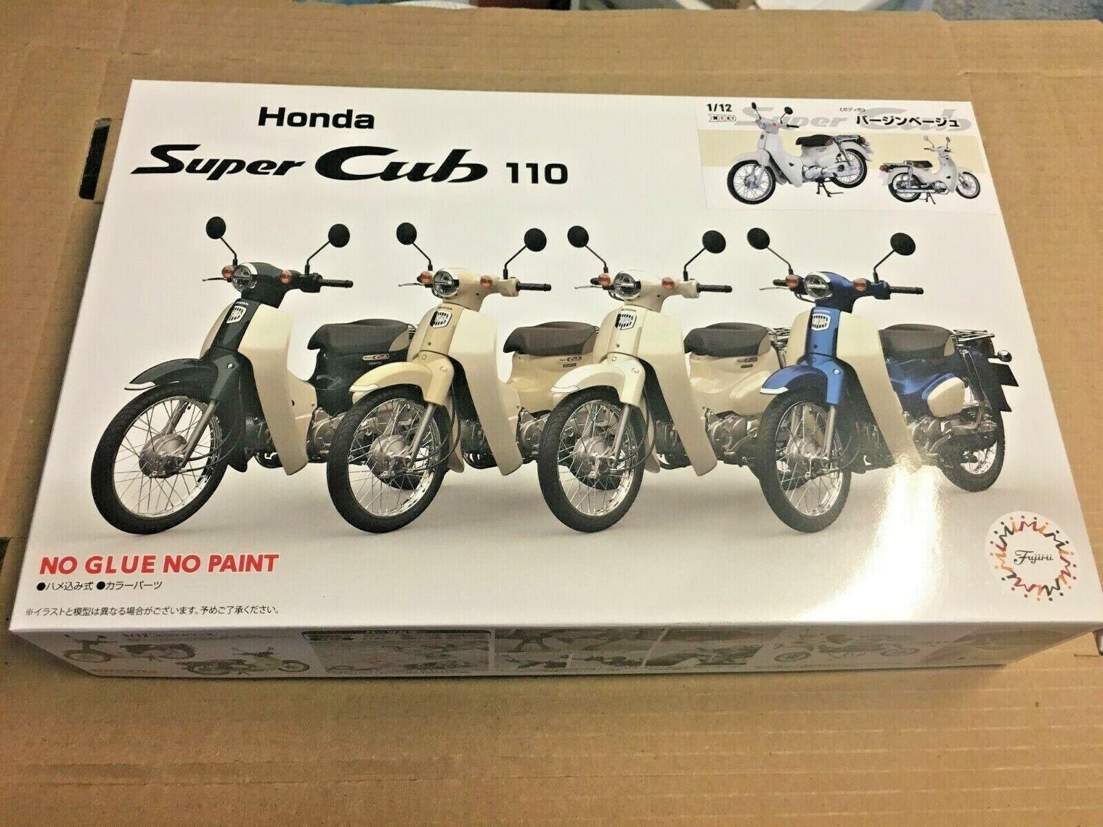 Fujimi Snap Tillsammans 1  12 Honda Super Cub 110 Scooter cykel Beige modellllerler Kit NY