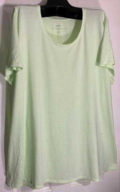 J Jill women Scoop neck Elliptical Tee shirt Top Plus size 2X Pima Cotton Lime