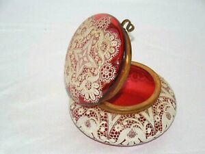 ANTIQUE-GORGEOUSE-HAND-PAINTED-ENAMEL-MOSER-CRANBERRY-ART-GLASS-TRINKET-BOX