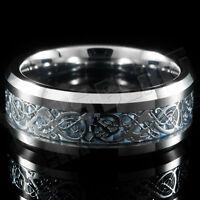 Silver Celtic Dragon Tungsten Carbide Blue Carbon Fiber Wedding Band Bridal Ring
