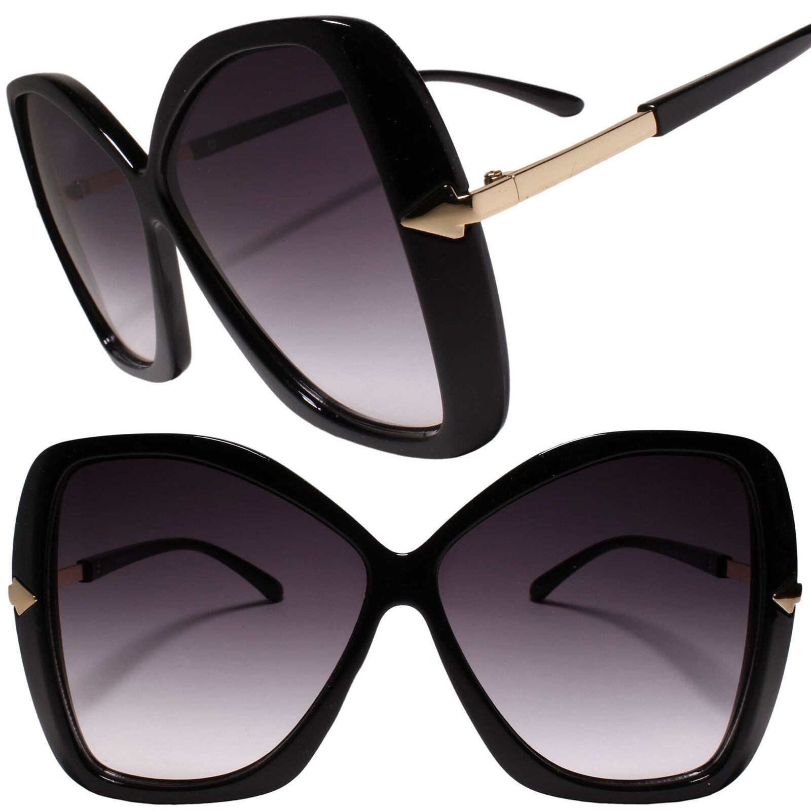 Classy Luxury Oversized Exaggerated Womens Black & Gold Sunglasses
