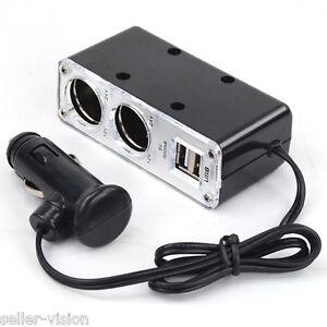 12v-2-Way-Car-Cigarette-Lighter-Power-Socket-Charger-Adapter-amp-USB-Port-Chargers