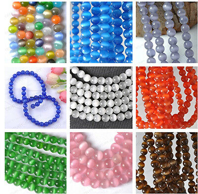 Wholesale lot (10colour)4MM 6MM 8MM 10MM Cat Eye Gemstone Round Loose bead