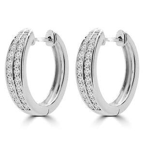 .49 CTW VS1 F ROUND DIAMOND HUGGIE EARRINGS 14K WHITE GOLD