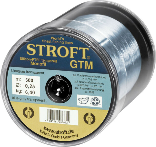 STROFT GTM 500 m Monofile Angelschnur 0.03 mm bis 0.600 mm Blaugrau transparent